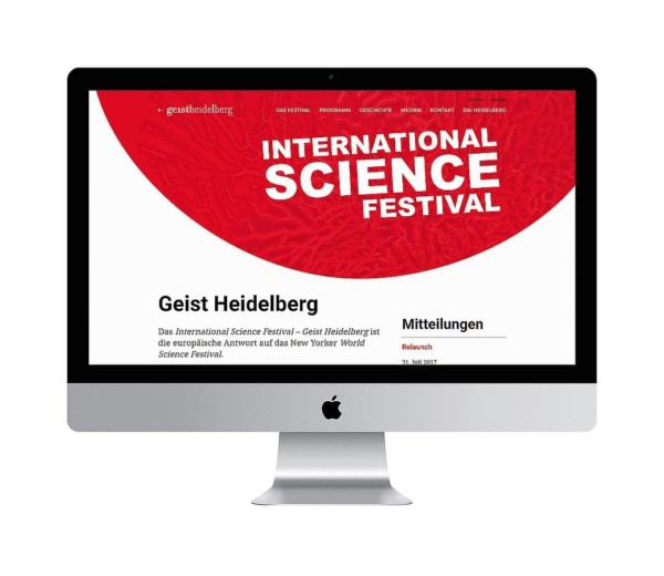 "Website für das International Science Festival ""Geist Heidelberg"""